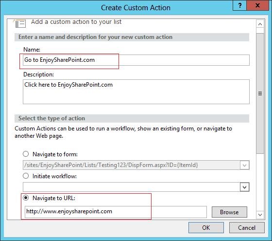 sharepoint user custom actions