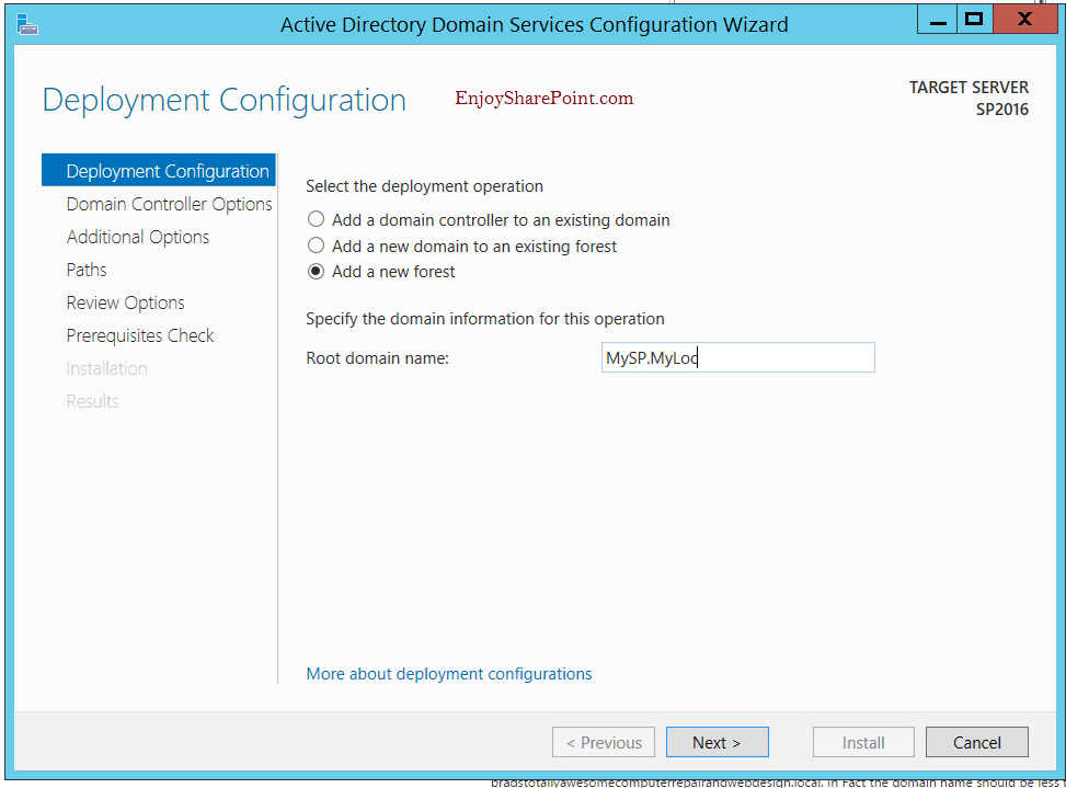 Configure Active Directory Domain Service in Windows Server 2012 R2 for SharePoint 2016