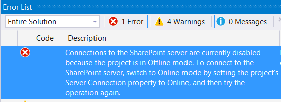 Connections to the SharePoint server are currently disabled because