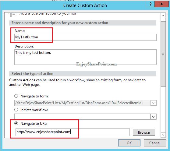 Add custom action button in List ribbon using SharePoint designer 2013