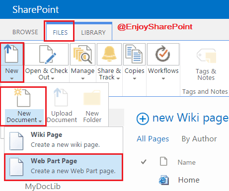 Create A Web Part Page Or Wiki Page In Sharepoint 20132016