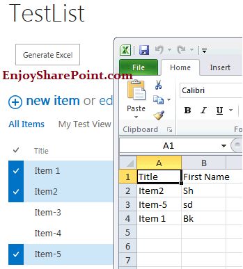 Export selected record to excel in SharePoint 2013 using JavaScript