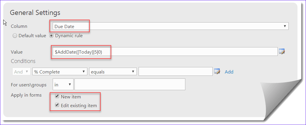 Infowise Ultimate Forms configure todays date in due date
