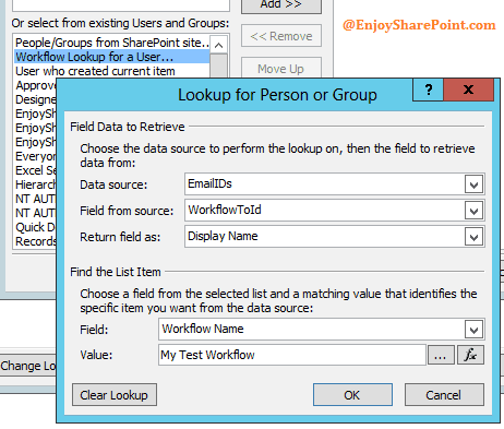 Lookup To address from list in SharePoint 2013 designer workflow