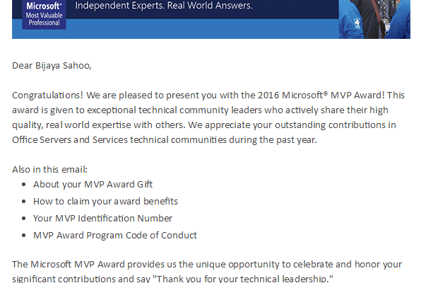 Received Microsoft SharePoint MVP for Office Servers and Services Category for 3rd time in a row