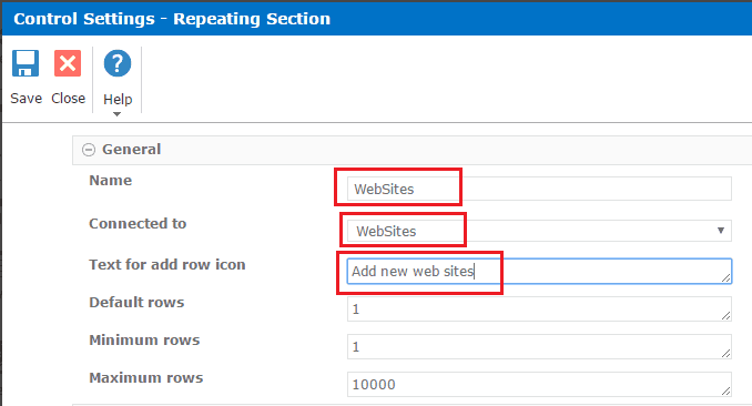 using repeating section in nintex forms