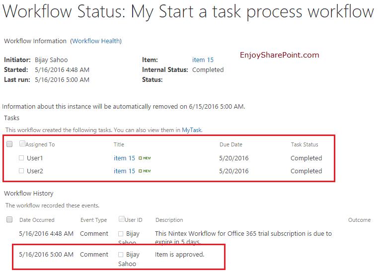 start a task process nintex workflow sharepoint online