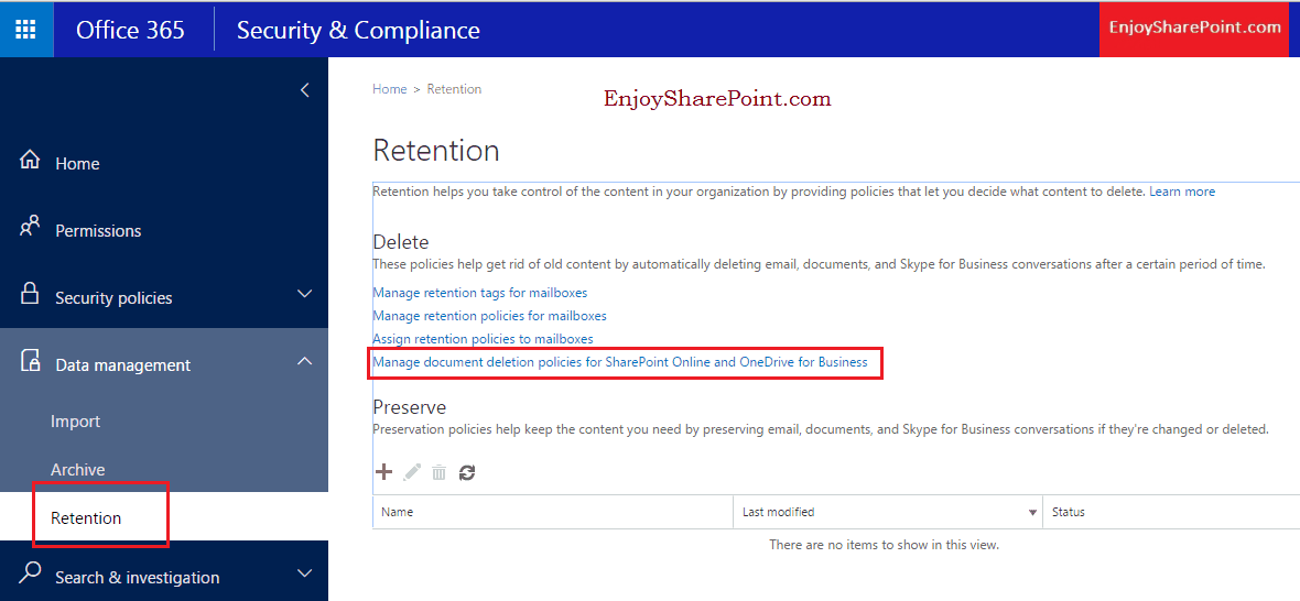 document deletion policy sharepoint 2016