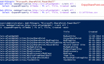 Get all Sites and sub sites under web application using PowerShell in SharePoint 2013