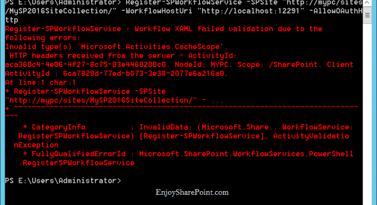 Register-SPWorkflowService Workflow XAML failed validation due to the following errors error while registering workflow service sharepoint 2016