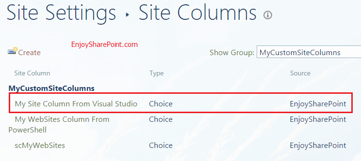 create site column in sharepoint 2013 using visual studio