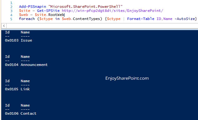 Get all content types from site collection using PowerShell in SharePoint