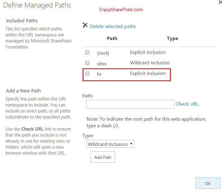 how to configure managed path in sharepoint 2013