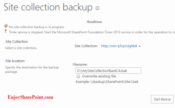 Backup Restore SharePoint 2013 site collection using PowerShell