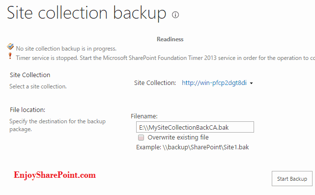 Backup SharePoint 2013 site collection using the central administration