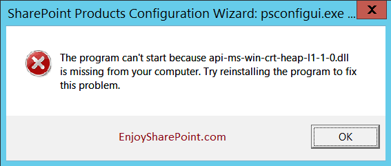 SharePoint 2016 installation error The program can not start because api-ms-win-crt-runtime-l1-1-0.dll is missing