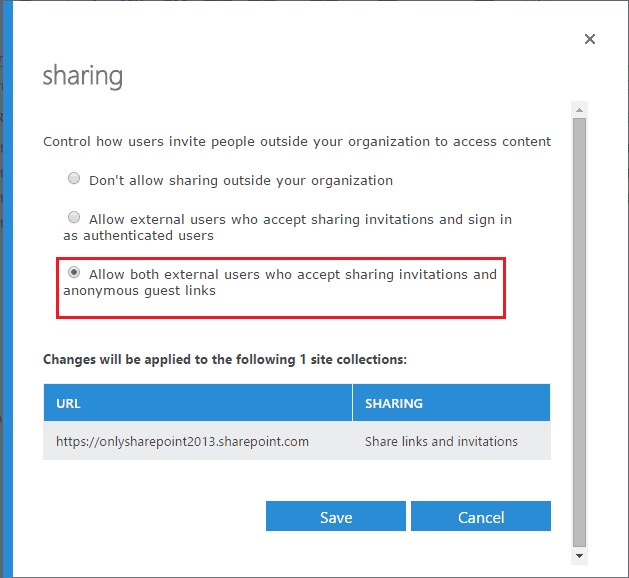 office 365 sharepoint share with external users