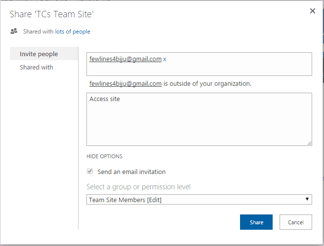 sharepoint share with external users