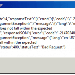 Value does not fall within the expected range error in Rest API