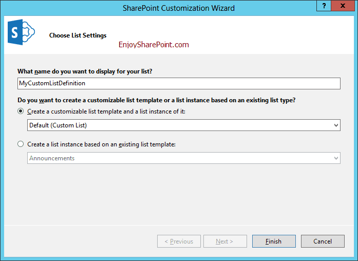 Create List Definition and List Instance in SharePoint 2016 using Visual Studio 2015