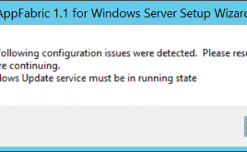 Windows Update service must be in running state error while installing AppFabric in Windows server 2012 R2