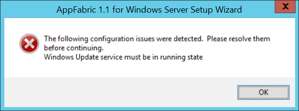 Windows Update service must be in running state