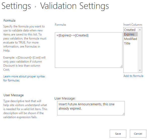 SharePoint 2016 List Validation Example Announcent Expiry Date Should be greater than or equesl to Created Date
