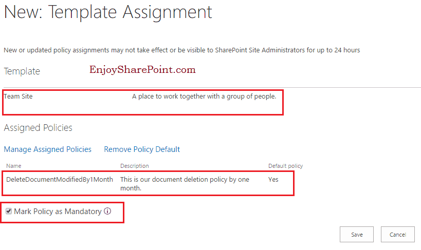 Document deletion policy in SharePoint Online Office 365