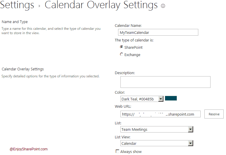 Calendar Overlay in SharePoint 2016
