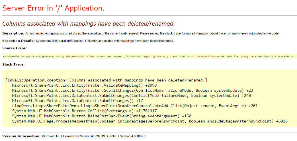 System.invalidoperationexception columns associated with mappings have been deleted or renamed error in Linq to SharePoint