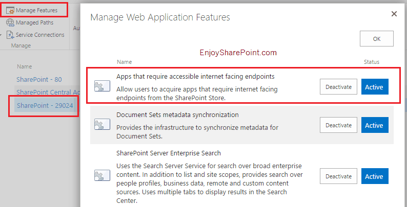 enable apps sharepoint 2016