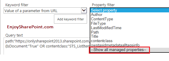 SharePoint 2013 Online Content Search WebPart with Query String