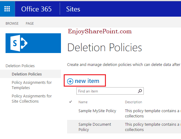 document deletion policies sharepoint online