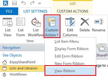 add custom action button sharepoint designer