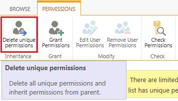 sharepoint online unique permissions