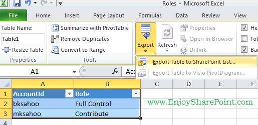 push data from excel to sharepoint list