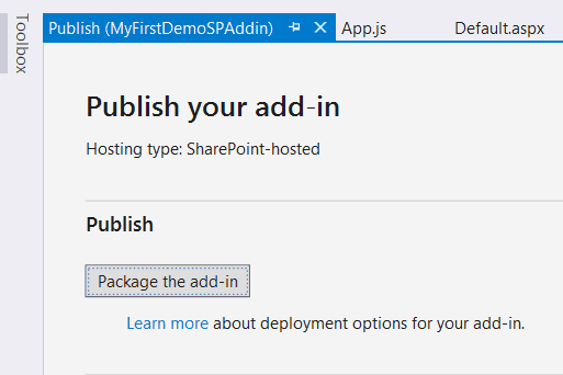 Generate .app file for SharePoint Apps using MSBuild and Visual Studio 2015