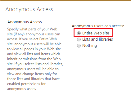 enable anonymous access sharepoint 2016