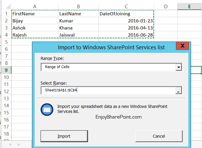 import spreadsheet into sharepoint office 365