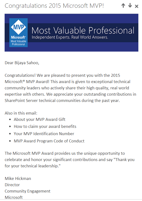 Re awarded as SharePoint MVP for second time from Microsoft