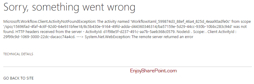 Microsoft.Workflow.Client.ActivityNotFoundException The activity named WorkflowXaml_GUID from scope error while deploying workflow to another server SharePoint online