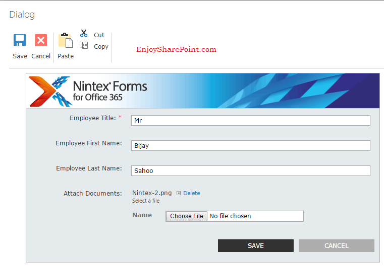 nintex forms custom list
