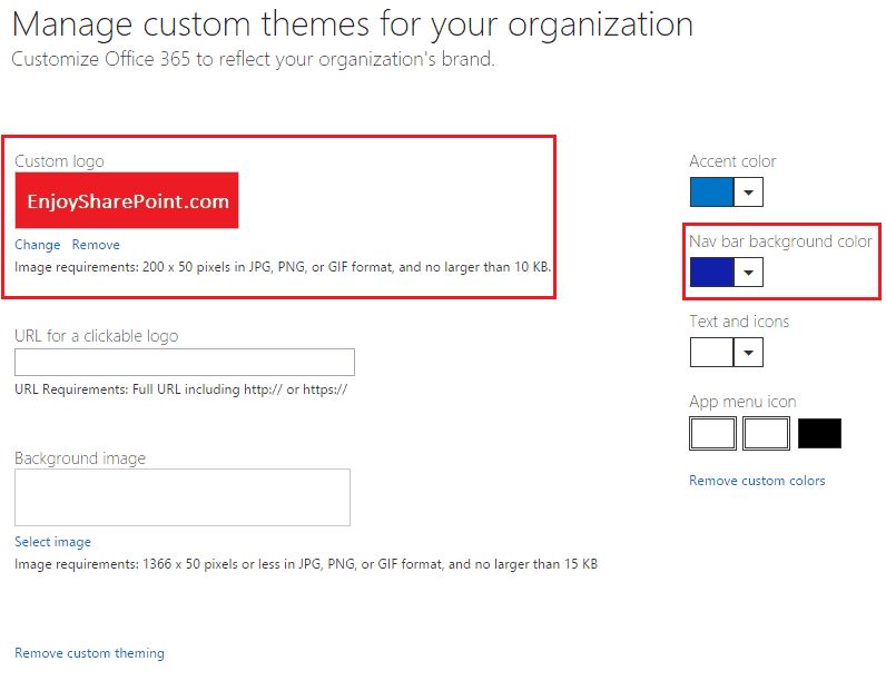 change office 365 navbar color