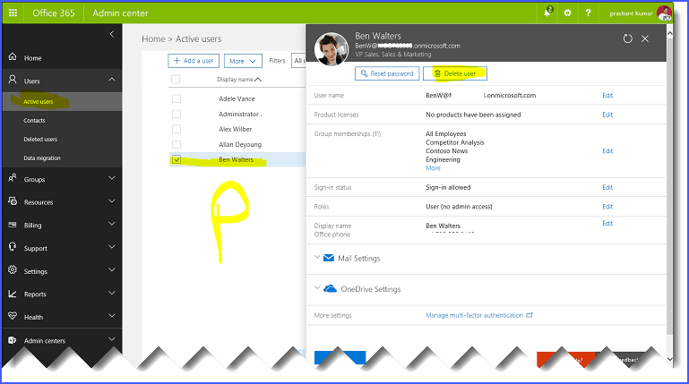 Office 365 steps to Remove Former Employee License and User