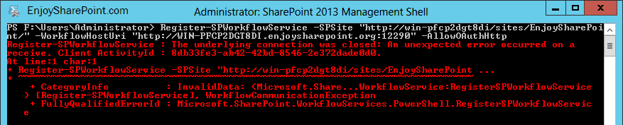 register-spworkflowservice the underlying connection was closed error while configuring workflow manager in SharePoint 2013