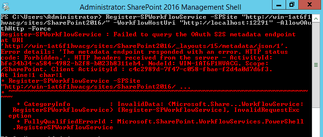 Register SPWorkflowService Failed to query the OAuth S2S metadata endpoint at URI error while configuring workflow manager in SharePoint 2016