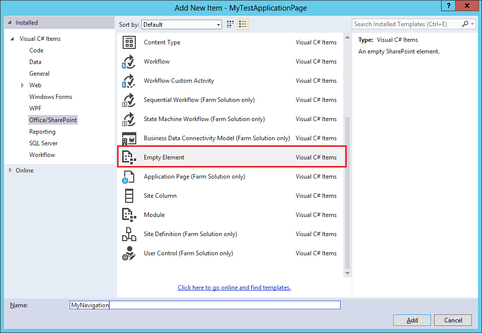 add navigation link in site settings navigation page SharePoint 2013 using visual studio