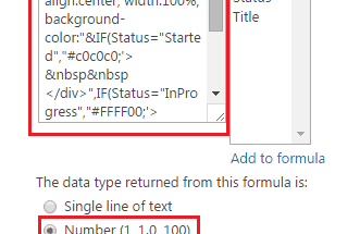 SharePoint 2013 online Show color in different color based on status column value in SharePoint 2013 using Calculated column