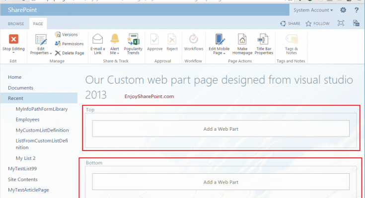 web part page sharepoint 2013 visual studio 2013