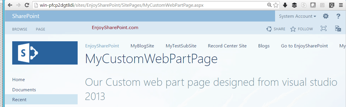 web part page in sharepoint 2013 using visual studio